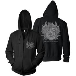THE OCEAN - Ammonites & Ferns Design Hooded Sweatshirt With Zip (Black) - Medium (Shirt)